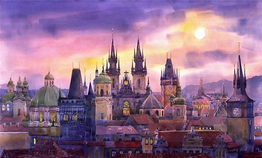 акварели с изображением Праги